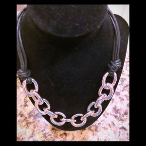 NWT Silver large links w/leather look chain